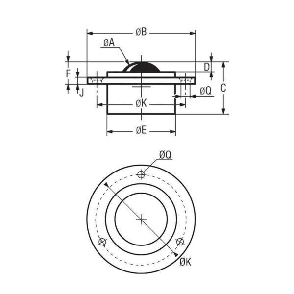 Billes à collerette ronde – de 25 à 500 kg