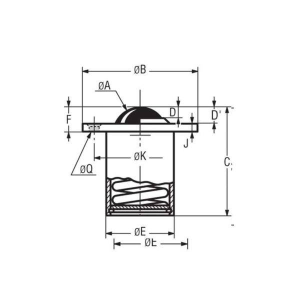 Billes à socle cylindrique à collerette avec déflecteurs – de 50 à 130 kg